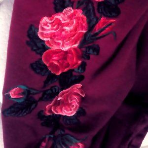 Umgee Small Cold Shoulder Rose Embroidered Shirt